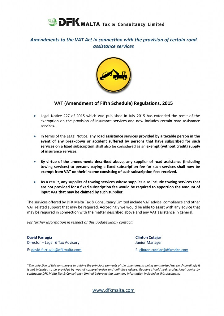 VAT - amendments (roadside assistance)