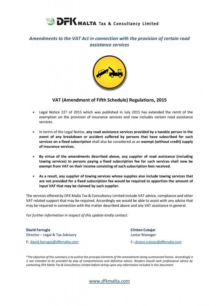 VAT - amendments (roadside assistance)