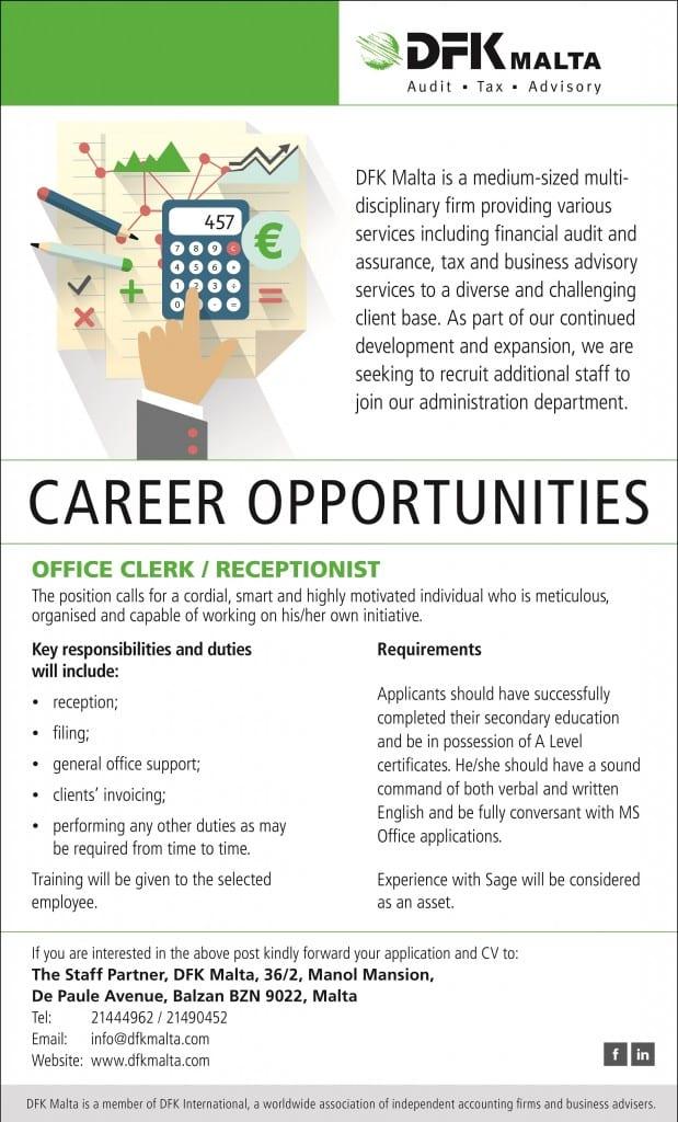 DFK Malta-Office Clerk, Receptionist