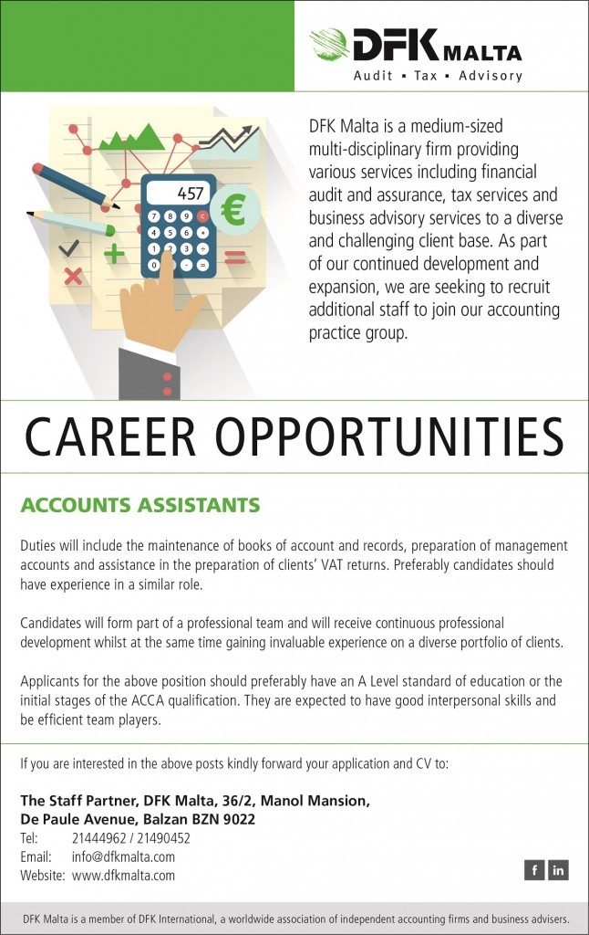 DFK Malta - Career Opportunities July 2016